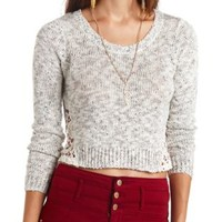 Crochet-Trimmed Marled & Cropped Sweater - White Combo