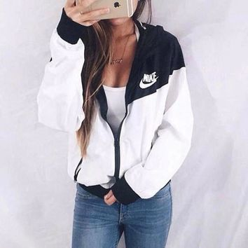 "Hot Sale ""NIKE"" Hooded Zipper Cardigan Sweatshirt Jacket Coat Windbreaker"