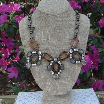 Tortoise Shell Deco Jewel Necklace