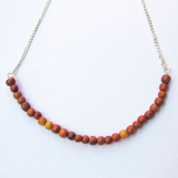 Wood necklace - Upcycled, vintage beads - Recycled materials and eco-friendly - Tribal inspired - Unique, handmade jewelry -Rustic style