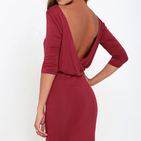 All or Nothing Wine Red Backless Dress