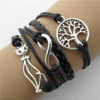 Beautiful Cat Trees Leather Cord Bracelet