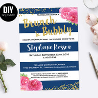 Stripe Brunch and bubbly bridal shower invitation | Navy and pink peony invitations Brunch & Bubbly Invitation | DIY Party Invitation
