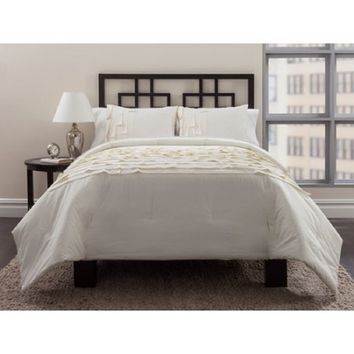 East End Living Horizontal Pleating 3-Piece Bedding Comforter Set, Ivory,King