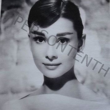 Audrey Hepburn printed t-shirt, retro vintage, Eco-friendly water-based inks are used