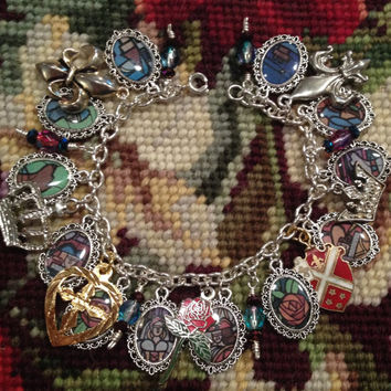 Disney's Beauty and the Beast Stained Glass Window Altered Art Charm Bracelet