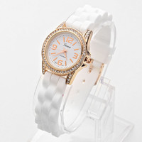 White Jelly Band Rhinestone Fashion Watch