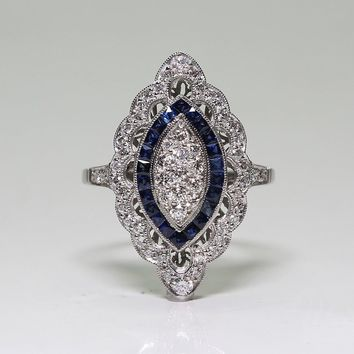 Antique Style Art Deco Large 925 Sterling Silver Imitation Blue Sapphire & Diamond Marquis Cut Ring Engagement Wedding Jewelry
