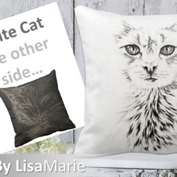 Cat Pillow | Black and White | Girlfriend Gift | Cat Pillow | Kitten | Fiance Gift | Gift For Cat Owner | Pet Lover Gift | Cat Gift | Cat