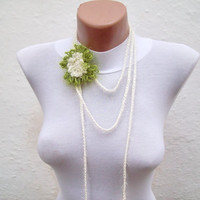 Hand crochet Lariat Scarf  Cream Green Flower Lariat Scarf Long Necklace Holiday Accessories