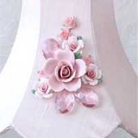 Fairytale Pink Lamp Shade with Rose Bouquet
