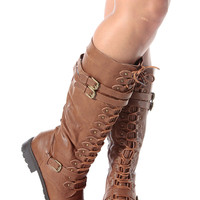 Cognac Faux Leather Calf Length Lace Up Combat Boots