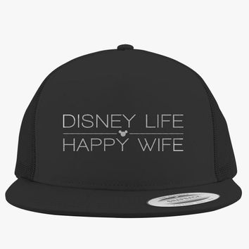 Disney Life Happy Wife Embroidered Trucker Hat