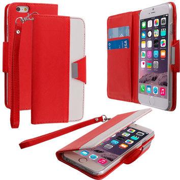 Red Wallet Magnetic Metal Flap Case Cover With Card Slots for Apple iPhone 6 6S (4.7)
