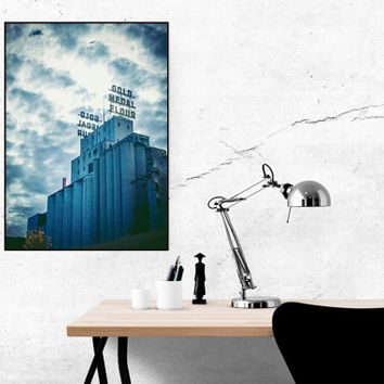 Minneapolis Wall Art | Gold Metal Flour Downtown Skyscape| Home Office Bedroom Bathroom Decor