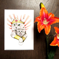 Super Mom Card | Mother's Day Cat Card