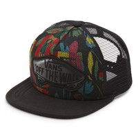 Vans Beach Girl Floral Tapestry Trucker Hat (Floral Black/True White)
