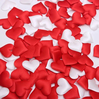 Free shipping 50pcs Fabric Heart dia 1.4cm/2.1cm/3.5cm/5cm Wedding Confetti Table Decoration birthday party Decorative Supplies