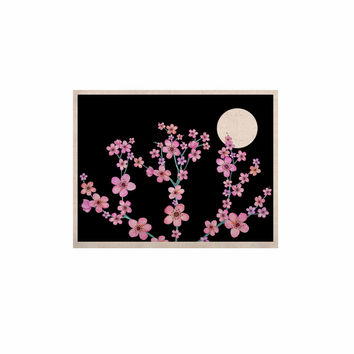 "Julia Grifol ""Cherry Blossom At Night"" Pink Black KESS Naturals Canvas (Frame not Included)"