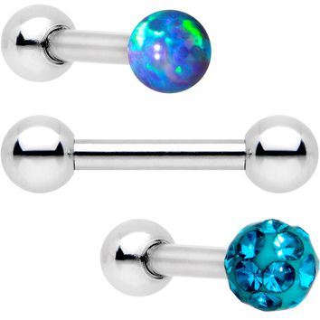 "16 Gauge 1/4"" Teal Faux Opal Ball Cartilage Tragus Earring 3 Pack"