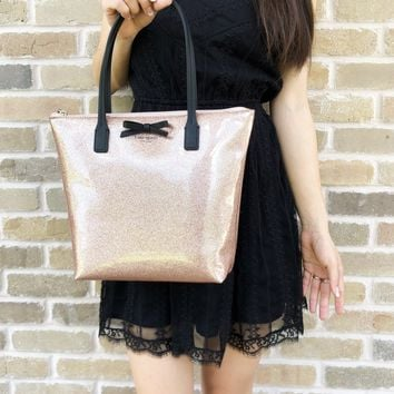 Kate Spade Mavis Street Jeralyn Tote Rose Gold Glitter Bow