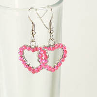 Rhinestone Pink Heart Charm Earrings - Girls Rhinestone Earrings - Womens Jewelry - Valentines Day Hearts