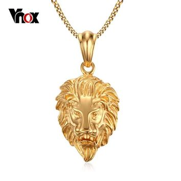 Vnox Lion Head Pendant Necklace Gold-color Men's Jewelry Stainless Steel Metal