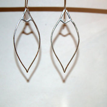 Sterling silver marquise earrings, minimalist earrings, oval earrings, silver teardrop earrings, geometric earrings, minimalist