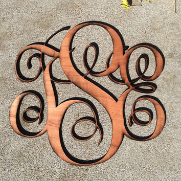 Wood monogram initial decoration - wedding present, housewarming gift - laser cut wood door hanging wreath decor