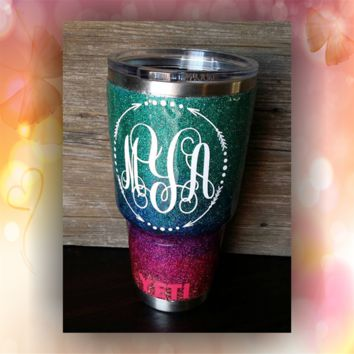 Arrow Monogram - STAINLESS STEEL MUG - glitter dipped or painted - coffee mug - tumblers