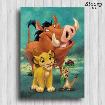 simba timon and pumba poster lion king art disney print