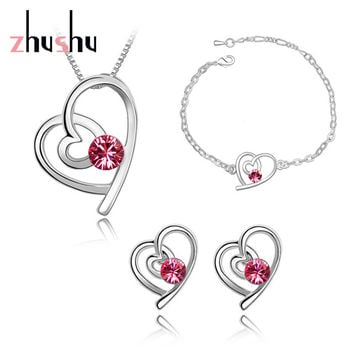 Real Gold plated Bridal Wedding Accessories Heart Necklaces Earrings Jewelry Sets with Austrian Crystal