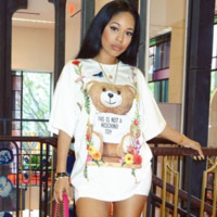 Moschion New fashion hot bear letter flower print loose floral T-shirt dress White