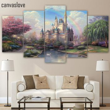 Cinderellas Castle 5 Piece Canvas