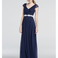 Cap Sleeve Dress with Beaded Waist - Davids Bridal