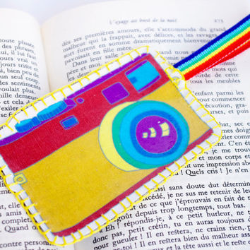 Camera rainbow bookmark, Fabric Unusual Retro Embroidery Bookmark