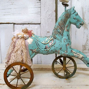 Painted wooden horse rusty wheels sea foam distressed decor French farm house wood sculpture Anita Spero
