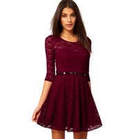 Women's Fashion Three-quarter Sleeves Lace Dress with A Matching Waiststrip