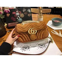 GUCCI Autumn Winter High Quality Popular Women Leather Velvet Metal Chain Shoulder Bag Crossbody Satchel Brown