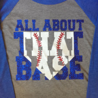 All about that Base- 3/4 Sleeve Baseball Tee- Glitter Design