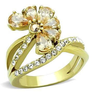 WildKlass Stainless Steel Ring IP Gold(Ion Plating) Women AAA Grade CZ Champagne