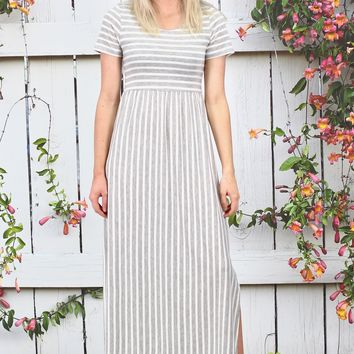 Vertical Stripes Short Sleeve Maxi Dress {H. Grey}