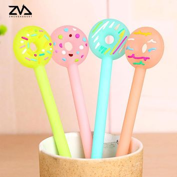 4pcs/lot  cartoon candy color donuts neutral pen students children writing stationery pen office supplies kawaii decorations