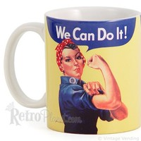 Rosie the Riveter Mug Rosie Riveter Coffee Cups WWII Collectible Cups from RetroPlanet.com