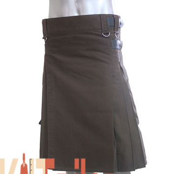 Dark Brown Deluxe Kilt Custom Made