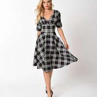 Unique Vintage 1950s Black & White Plaid Delores Swing Dress with Sleeves
