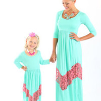 3/4 Sleeve Mint and Pink Lace Maxi Dress