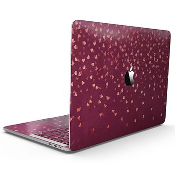 Pink and Orange Micro hearts Over Vintage Floral - MacBook Pro with Touch Bar Skin Kit