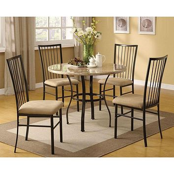 Round 5-Piece Dining Room Set with White Faux Marble Top Table and 4 Chairs