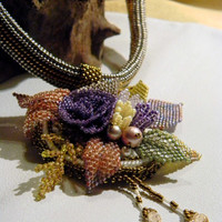 Floral Garden Bead Embroidered Necklace
